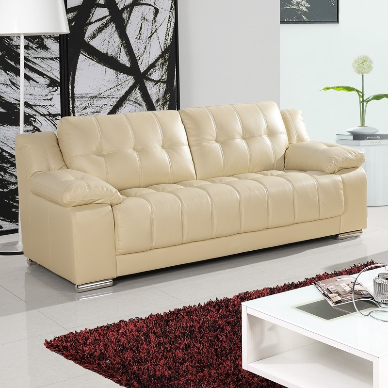 Cream Leather Sofa Throughout Ivory Leather Sofas (#3 of 15)