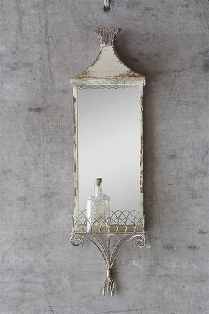 Cream Mirror With Shelf, Decorative Vertical Mirror, Shabby Chic In Distressed Cream Mirrors (#20 of 30)