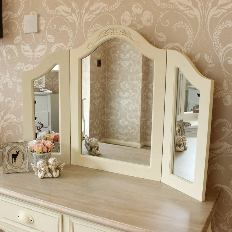 Inspiration about Cream Triple Freestanding Dressing Table Mirror  Country Ash Range Within Cream Free Standing Mirrors (#19 of 20)