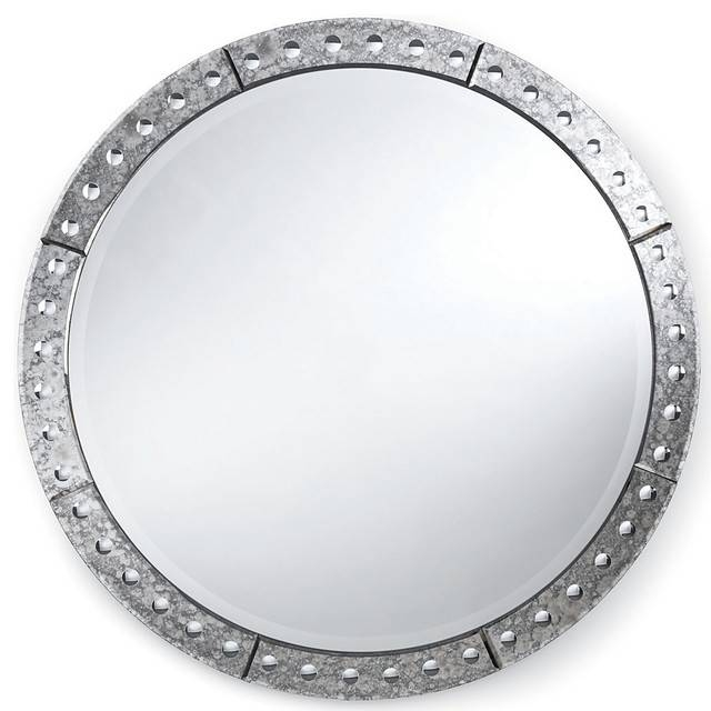 Crewe Hollywood Regency Antique Silver Round Mirror, 32 Pertaining To Round Silver Mirrors (#9 of 30)