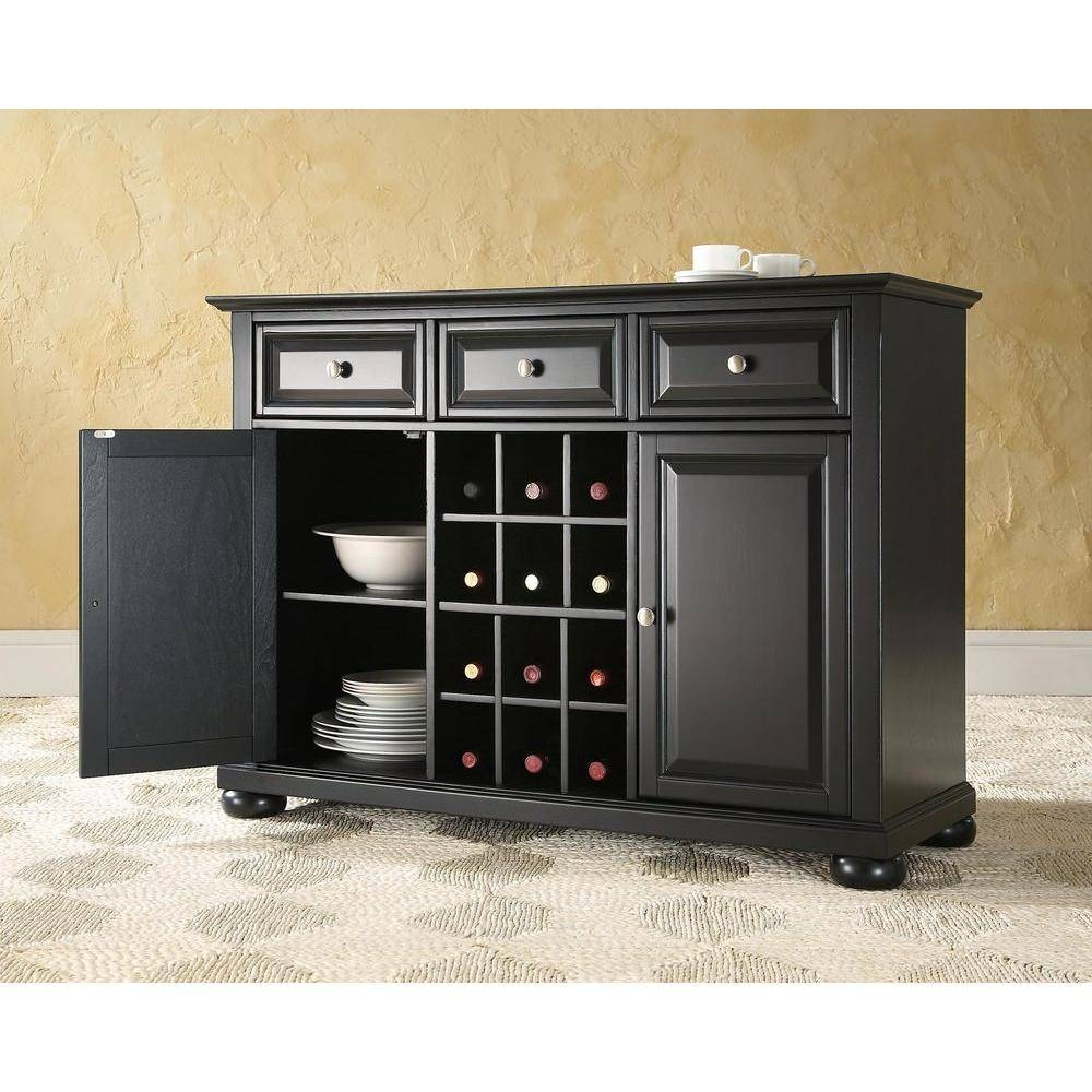 Crosley Alexandria Black Buffet Kf42001Abk – The Home Depot Throughout Black Sideboard Cheap (#9 of 20)