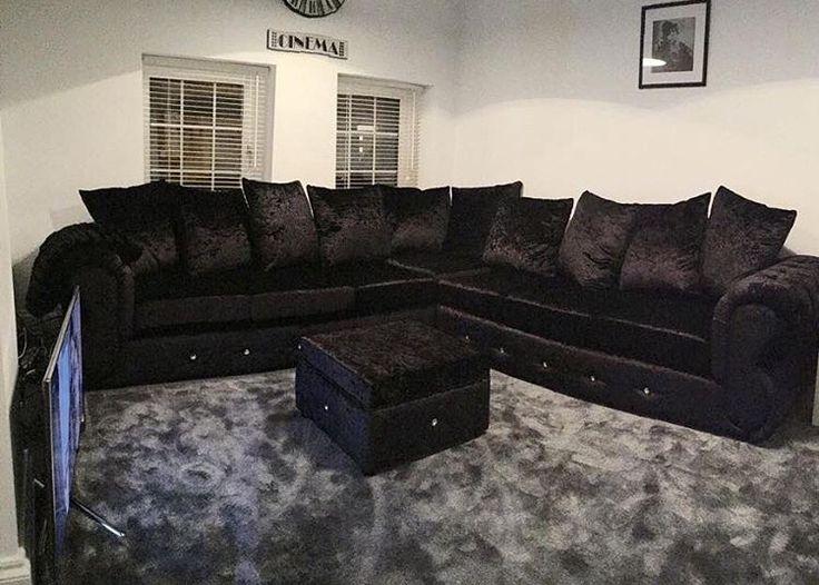 Crushed Black Velvet Sofa Grey Carpet Ideas For The House Within Black Velvet Sofas (#7 of 15)