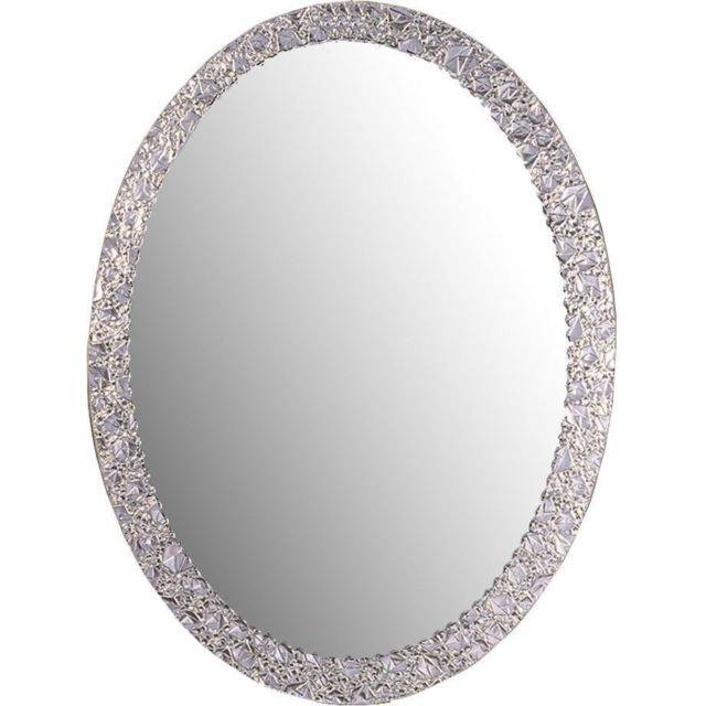 Crystal Wall Mirror Glam Chic Silver Oval Frameless Vanity For Silver Oval Mirrors (#6 of 20)