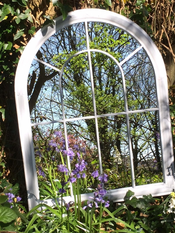 Curved Arch Top Metal Garden Mirror | Garden Mirrors, Outdoor Regarding Curved Top Mirrors (View 3 of 30)
