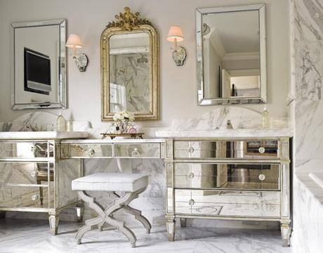 Curved French Bathroom With Antiqued Mirrored Vanity – French Inside French Bathroom Mirrors (#17 of 30)