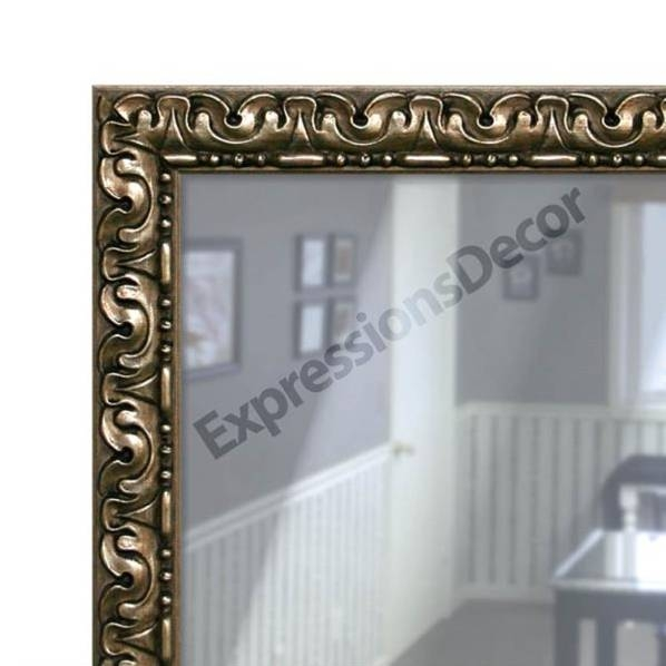 Custom Pewter Ornate Flat Glass Wall Mirror, Mantle & Bathroom Art Regarding Pewter Ornate Mirrors (View 18 of 30)