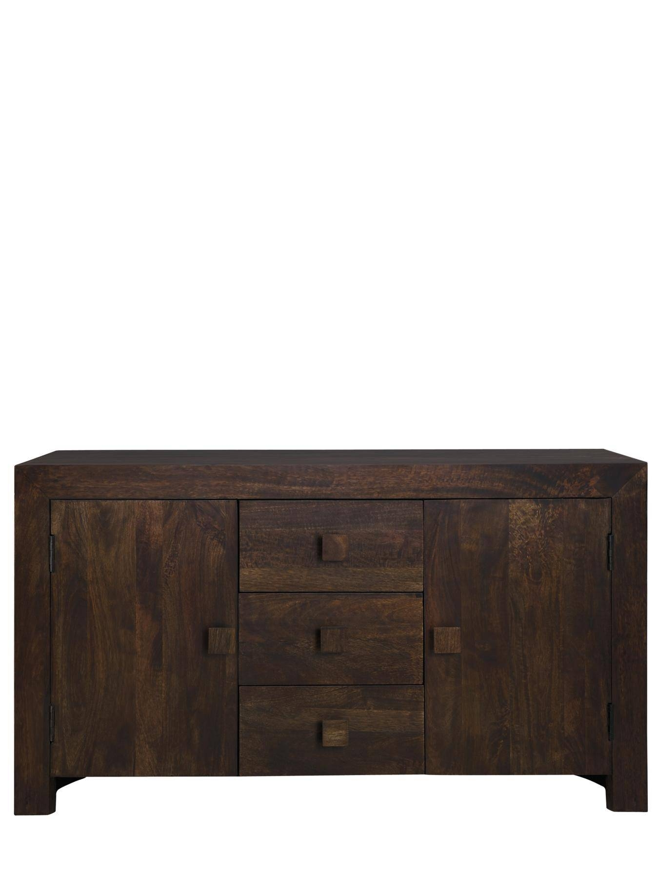 Dakota Ready Assembled Wide Sideboard, Light Mango,dark Brown Intended For Ready Assembled Sideboards (#10 of 20)