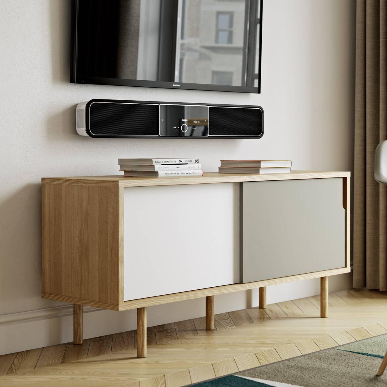 Dann Tv Stand | Oak / Pure White / Grey, Tema Home – Modern Manhattan Inside Sideboard Tv Stand (#10 of 20)