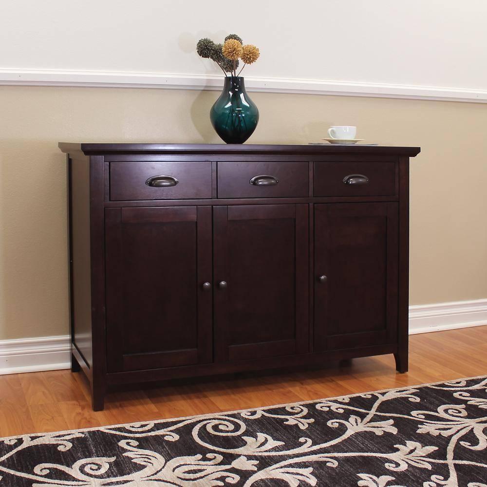 Dark Brown Wood – Sideboards & Buffets – Kitchen & Dining Room In Dark Brown Sideboard (#8 of 20)