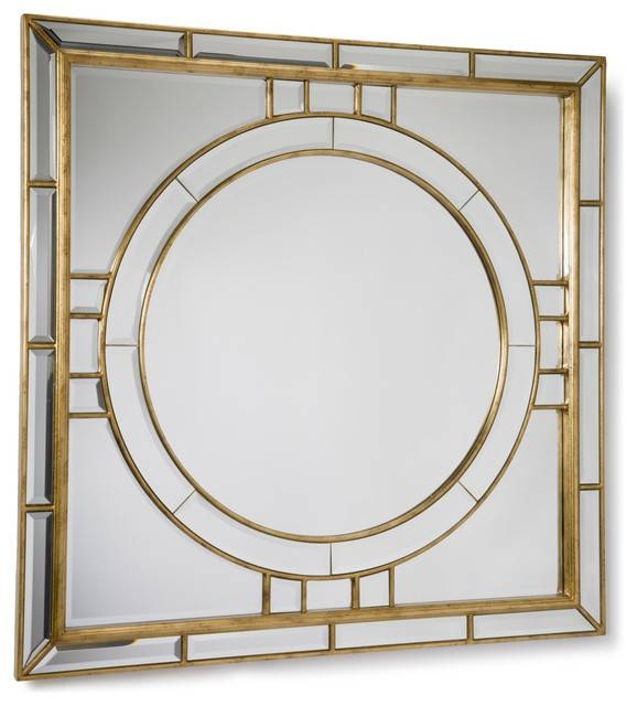 Darwell Hollywood Gold Leaf Square Beveled Mirror – Transitional Intended For Square Bevelled Mirrors (View 9 of 15)