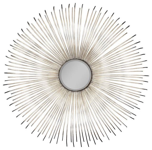 "Dazzling 32"" Convex Silver Sunburst Wall Mirror – Midcentury Inside Convex Wall Mirrors (#16 of 30)"