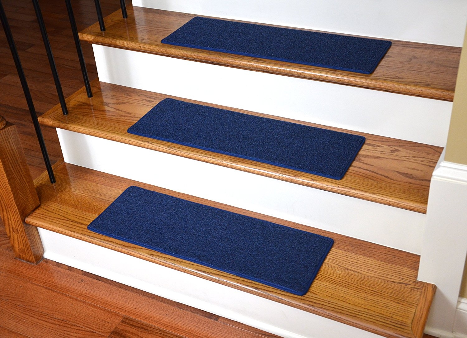 Dean Carpet Stair Treads 23 X 8 Navy Blue Set Of 13 Home Inside Carpet Strips For Stairs (#8 of 20)