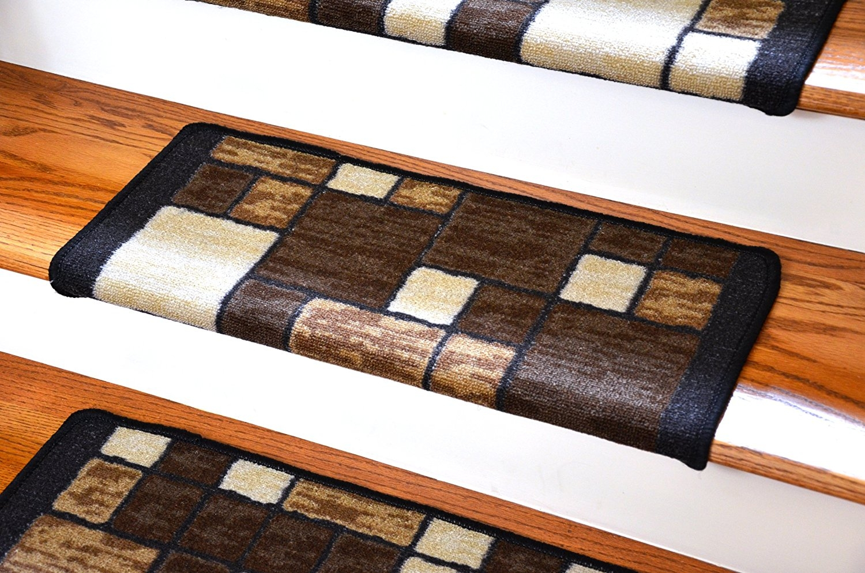 Dean Modern Diy Bullnose Wraparound Non Skid Carpet Stair Treads For Modern Stair Tread Rugs (#3 of 20)