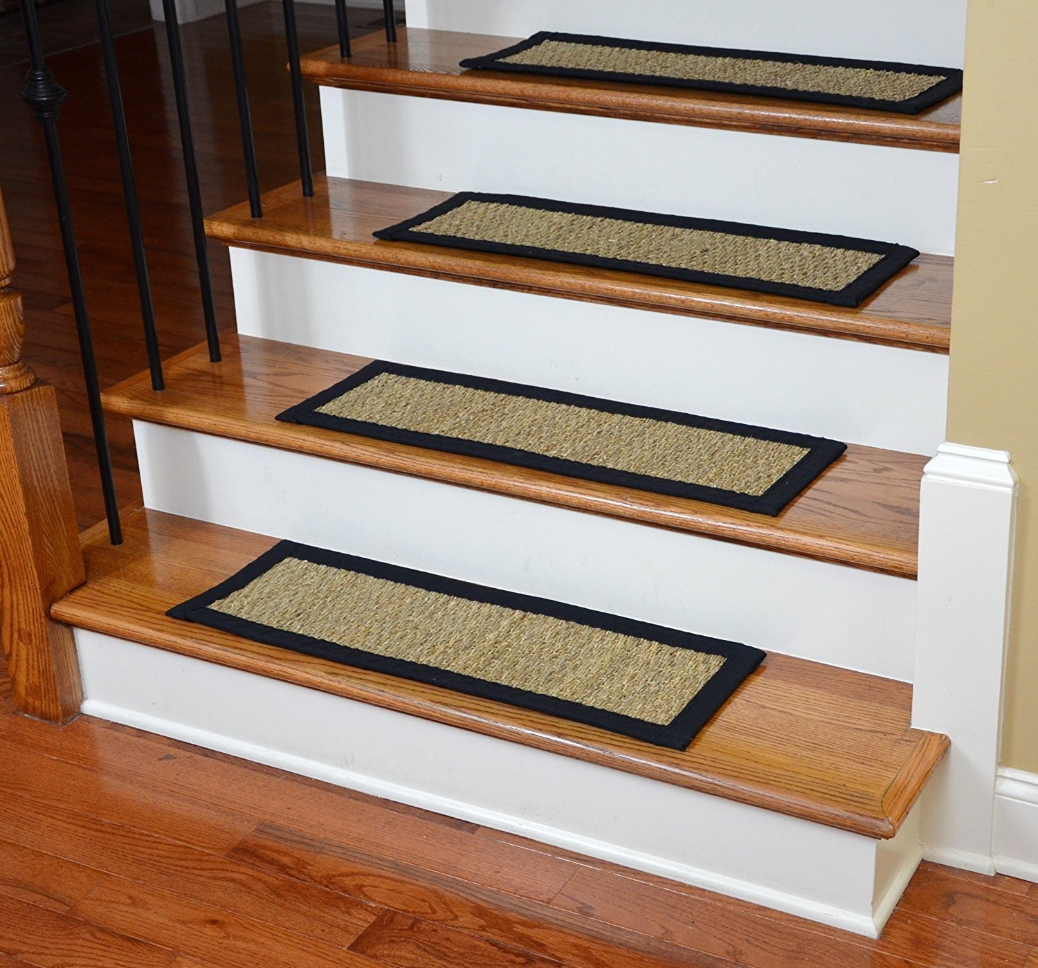 Dean Non Slip Seagrass Beige Natural Fiber Carpet Stair Treads With Natural Stair Tread Rugs (#5 of 20)
