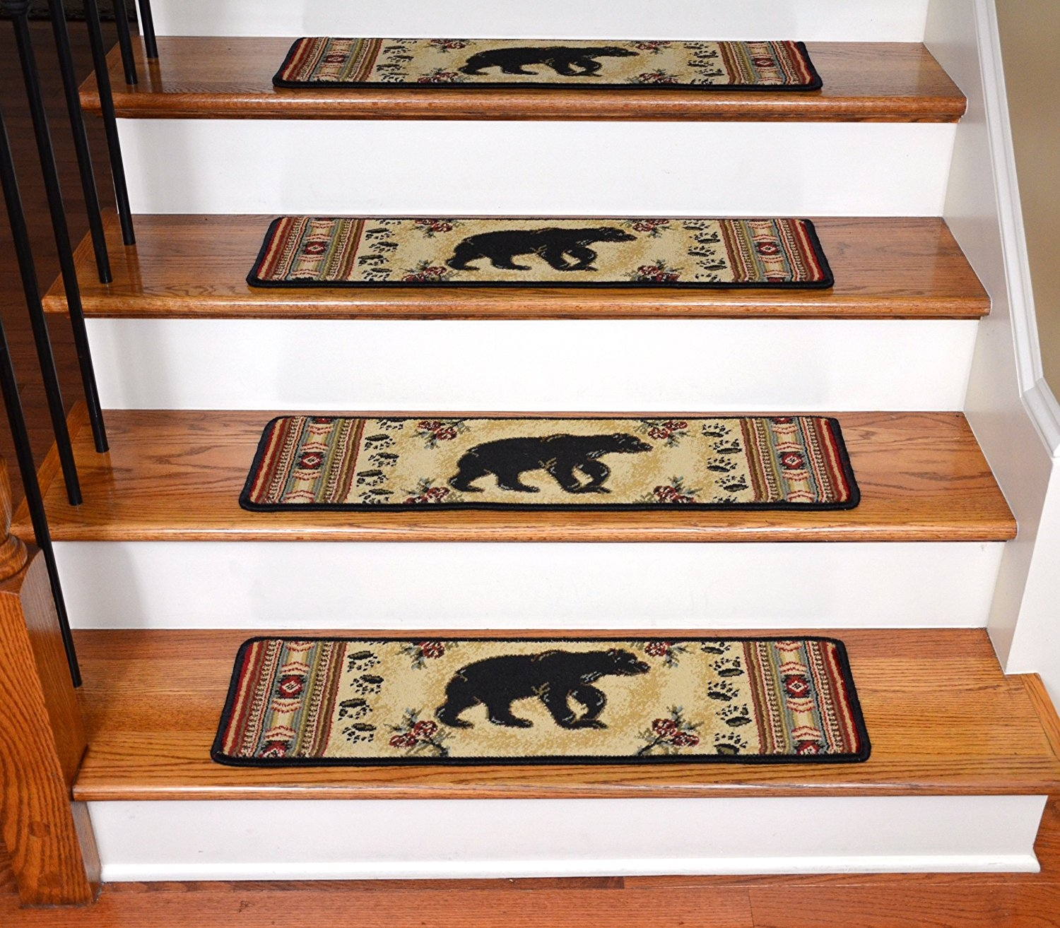 Dean Premium Carpet Stair Tread Rugs Black And Red Bear Cabin With Nonslip Stair Tread Rugs (#7 of 20)