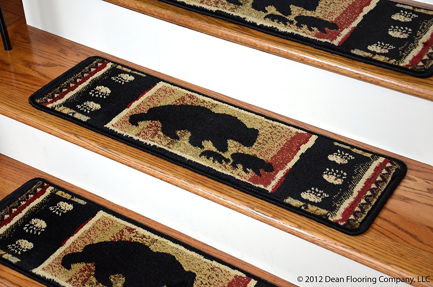 Dean Premium Carpet Stair Treads Black Bear Cabin 31 X 9 Set In Rustic Stair Tread Rugs (#10 of 20)