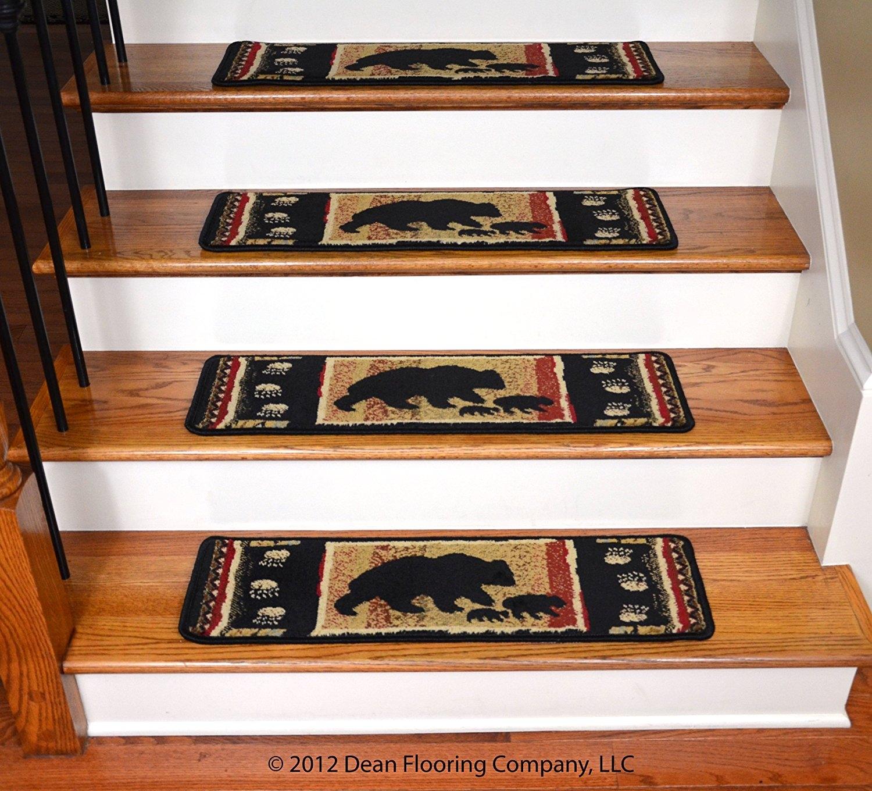 Dean Premium Carpet Stair Treads Black Bear Cabin 31 X 9 Set Within Premium Carpet Stair Treads (#12 of 20)
