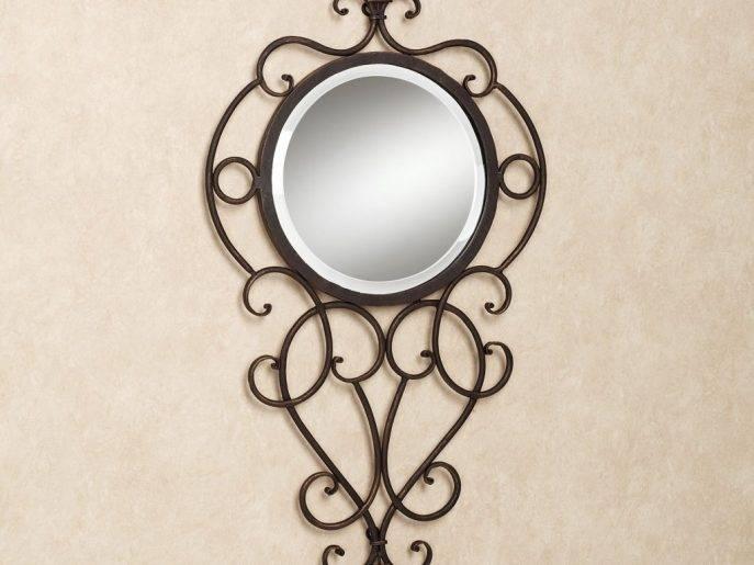 Decor : 53 Round Wall Mirror Mirror Wrought Iron Wall Decor Metal In Wrought Iron Bathroom Mirrors (#17 of 30)