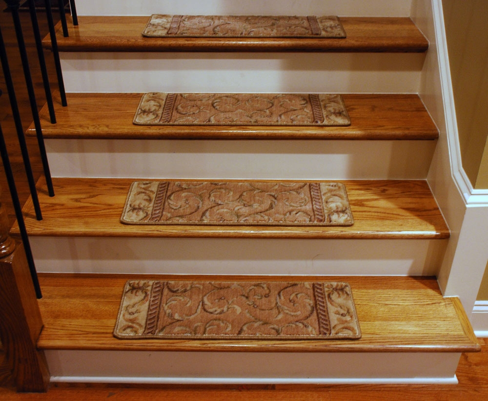 Decor Using Captivating Stair Treads For Alluring Home Decoration In Removable Carpet Stair Treads (#12 of 20)