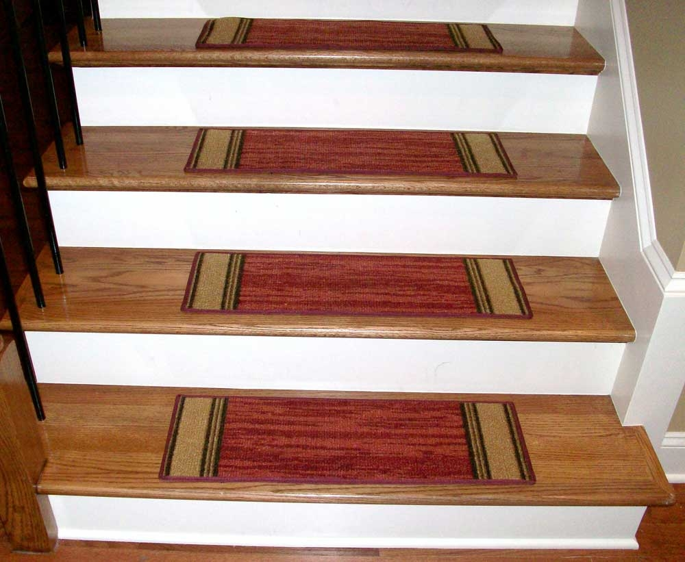 Decor Using Captivating Stair Treads For Alluring Home Decoration Inside Braided Carpet Stair Treads (#8 of 20)