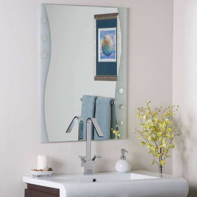 Decor Wonderland Frameless Maritime Wall Mirror & Reviews | Wayfair Throughout Frameless Wall Mirrors (#6 of 30)