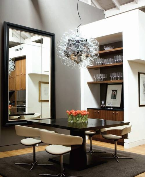 Decorate Dining Rooms With Large Mirrors Within Black Large Mirrors (#11 of 20)
