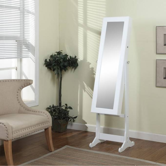 Decorating: Interesting Standing Mirror Jewelry Armoire In Stylish With Regard To Cream Standing Mirrors (#14 of 20)