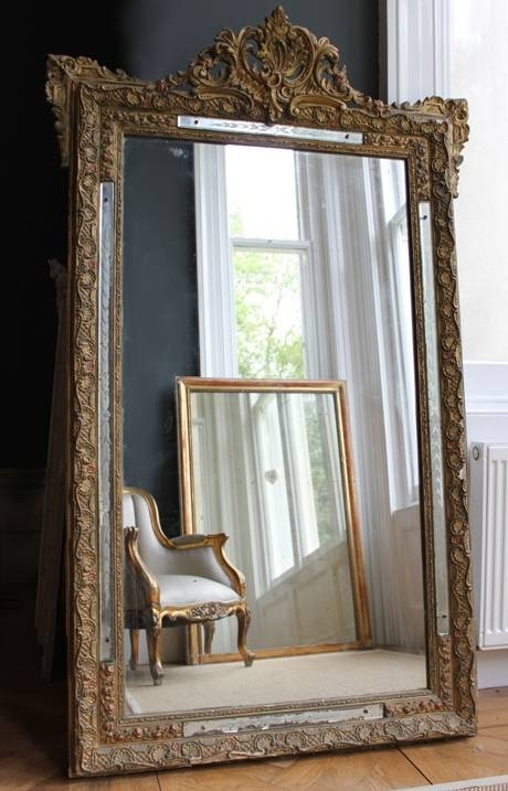 Decorative Large Antique French Mirrorthe Vintage Trader With Regard To French Vintage Mirrors (#18 of 20)