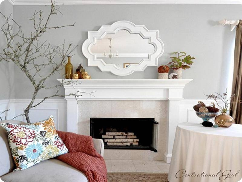 Decorative Mirrors For Above Fireplace With Decorating The Regarding White Decorative Mirrors (#9 of 20)