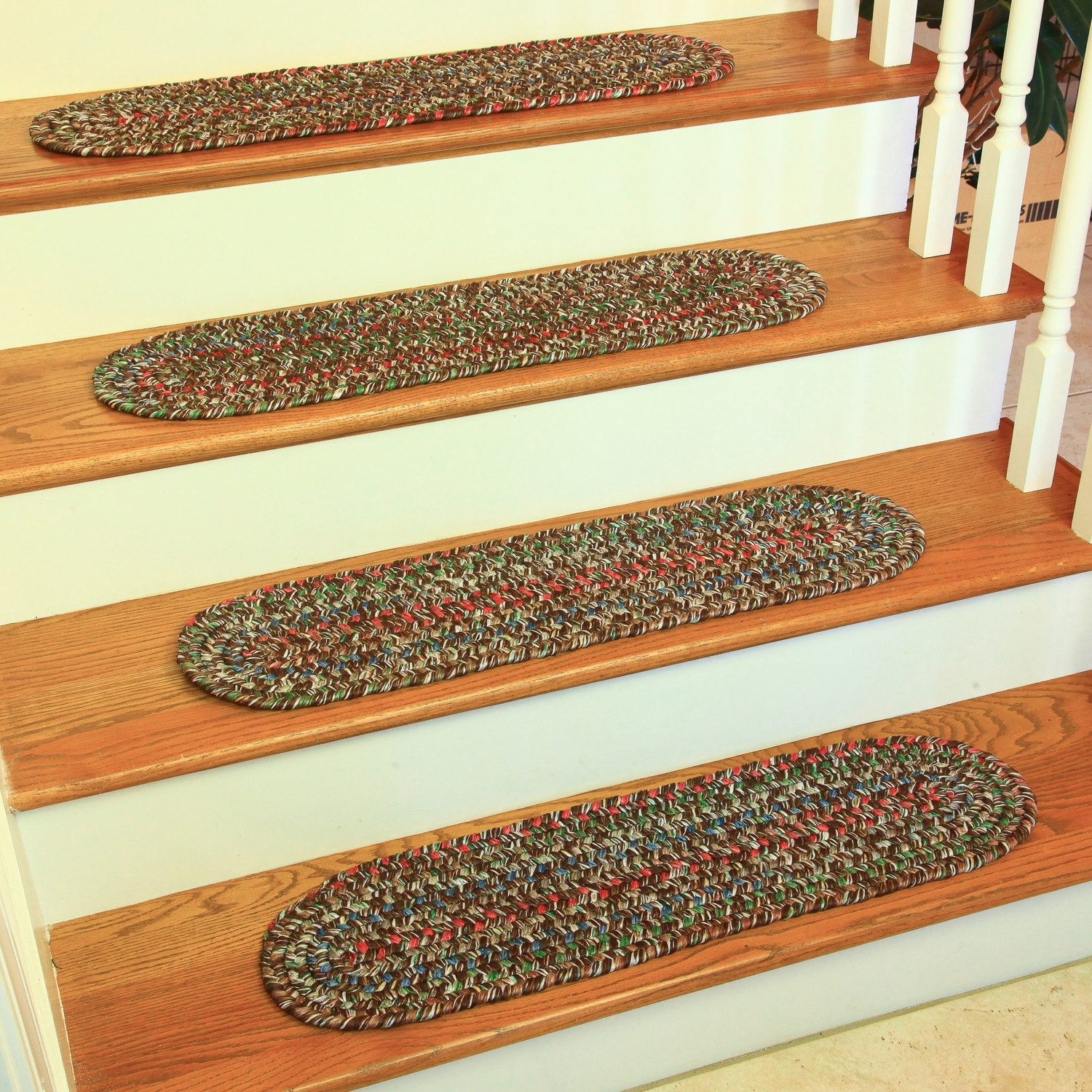 Decorative Stair Treads Design Ideas Decors Throughout Braided Rug Stair Treads (#10 of 20)
