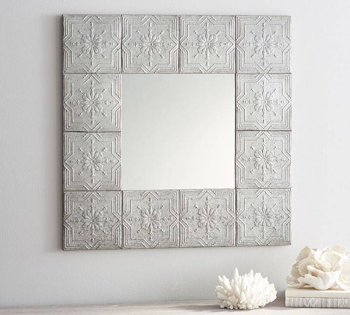 Decorative Tin Mirror | Pottery Barn In Pressed Tin Mirrors (#12 of 20)