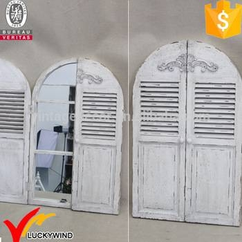 Decorative Vintage Style Arched Shutter Window Wood Mirror – Buy Intended For Window Shutter Mirrors (#15 of 30)