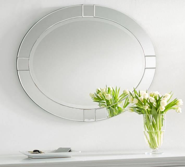 Decorative Wall Mirror | Pottery Barn With Long Oval Mirrors (#15 of 30)