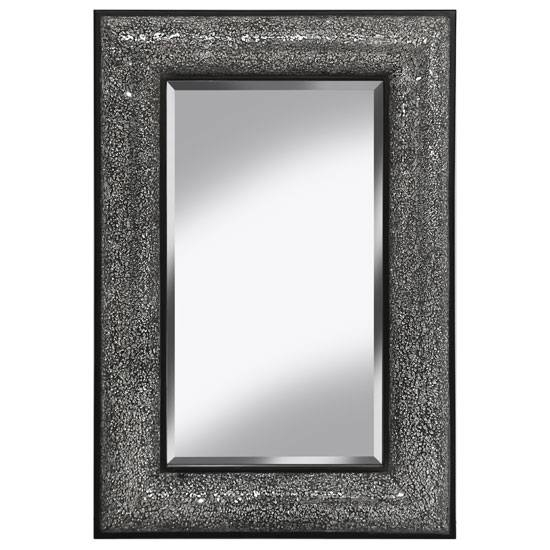 Decorative Wall Mirror Rectangular In Black Silver For Black Mosaic Mirrors (#12 of 30)