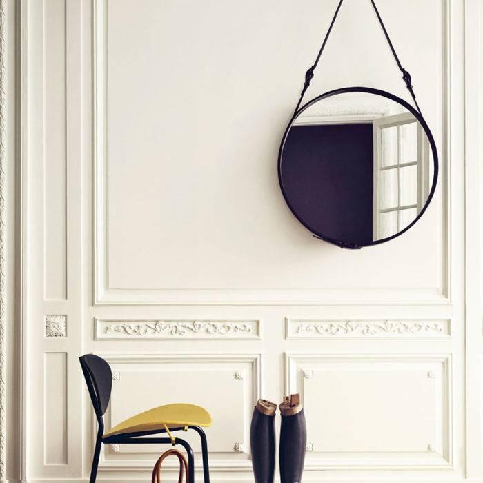 Designer Gubi Round Leather Adnet Mirror – Black Leather And Brass Within Round Leather Mirrors (#7 of 30)