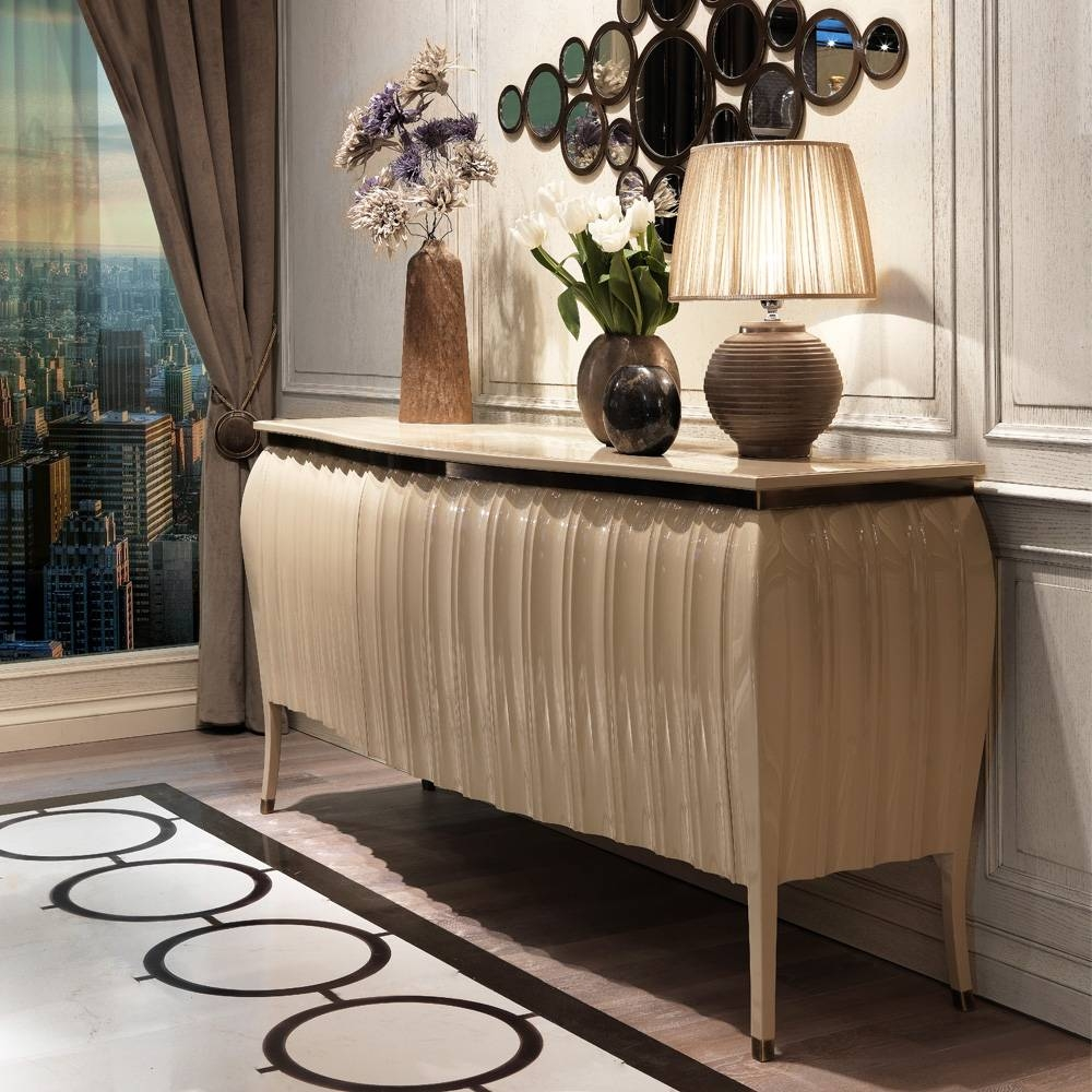 Designer High Gloss Lacquered Sideboard Buffet | Juliettes Within Cream Sideboard (#13 of 20)
