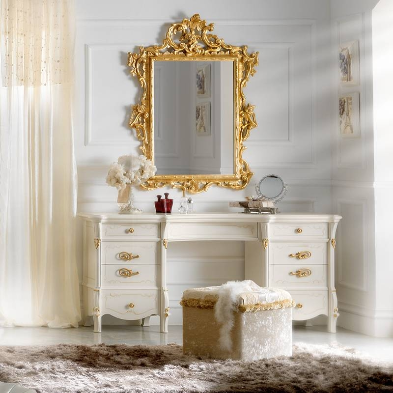 Designer Ivory And Gold Leaf Dressing Table And Mirror Set With Regard To Gold Dressing Table Mirrors (View 6 of 30)