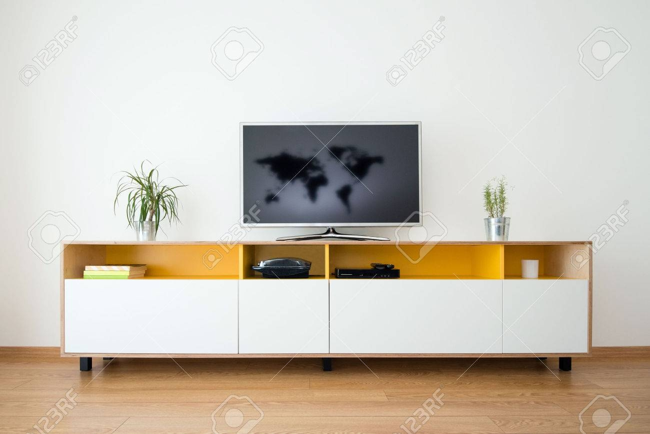 Detail Of Modern Living Room – Wall With Tv Stock Photo, Picture Throughout Modern Living Room Sideboards (#7 of 20)