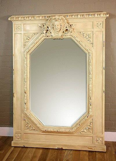 Distressed Cream Framed Octagonal Mirror With Bust | French Mirror Throughout Distressed Cream Mirrors (#22 of 30)