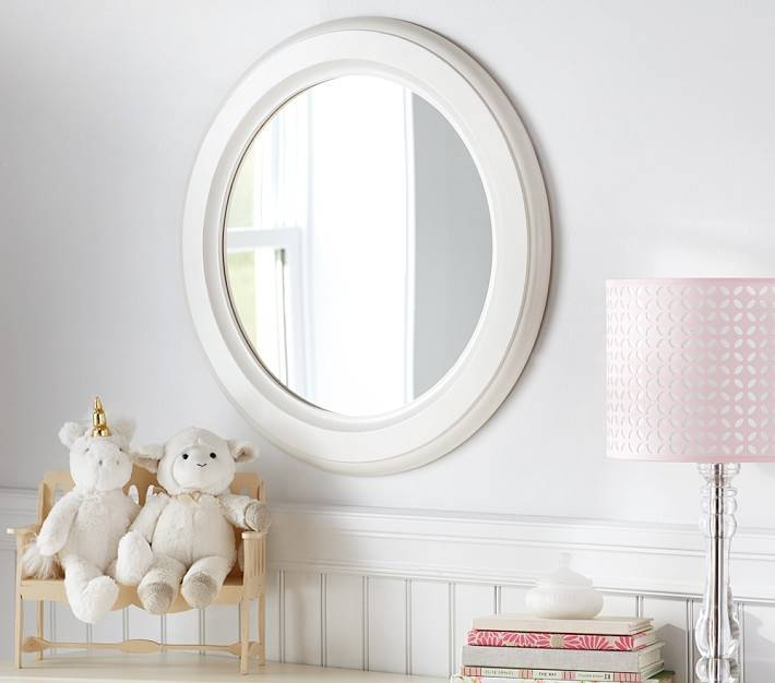 Distressed White Wood Round Mirror | Pottery Barn Kids Regarding White Round Mirrors (#15 of 30)