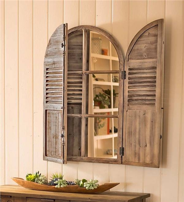 Distressed Wood Frame Mirror With Shutter Doors | Wall Art Throughout Window Shutter Mirrors (#18 of 30)