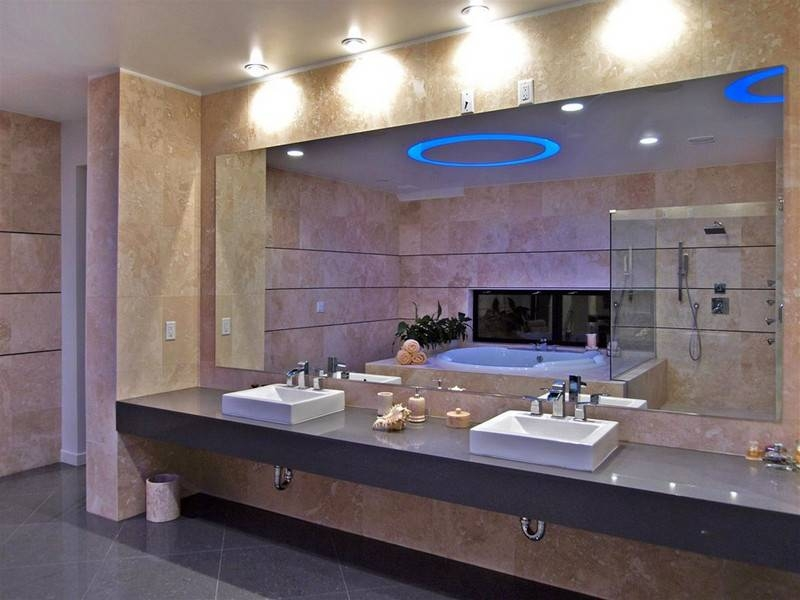 Diy Frameless Large Bathroom Mirror With Illumnated Bathroom Wall Intended For Frameless Large Wall Mirrors (#11 of 20)