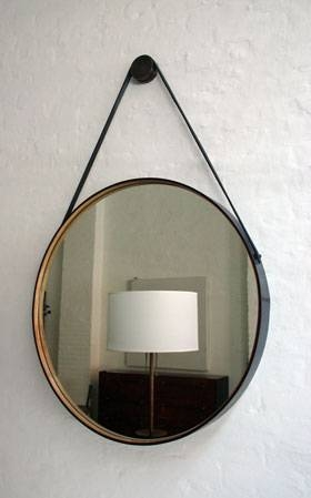 Diy: Hanging Round Mirror With Leather Strap (Aka Captain's Mirror Within Round Leather Mirrors (#8 of 30)
