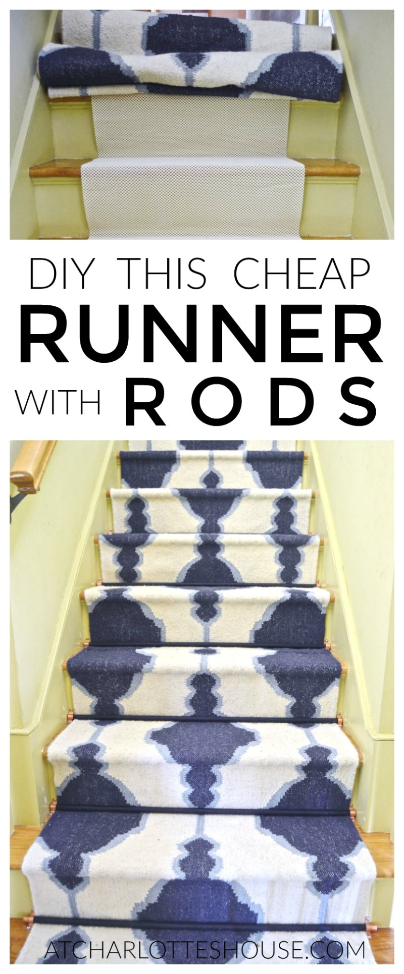 Diy Staircase Runner With Stair Rods Intended For Stair Tread Carpet Rods (#9 of 20)