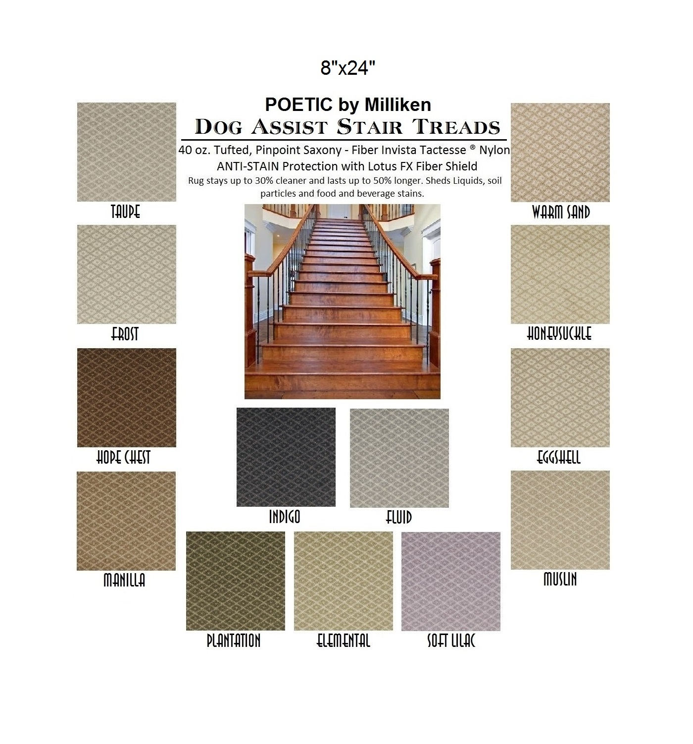 Dog Assist Carpet Stair Treads Throughout Set Of 13 Stair Tread Rugs (#7 of 20)