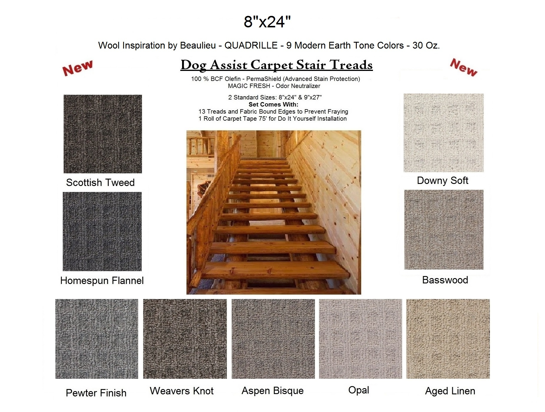 Dog Assist Carpet Stair Treads Throughout Wool Stair Rug Treads (#6 of 20)