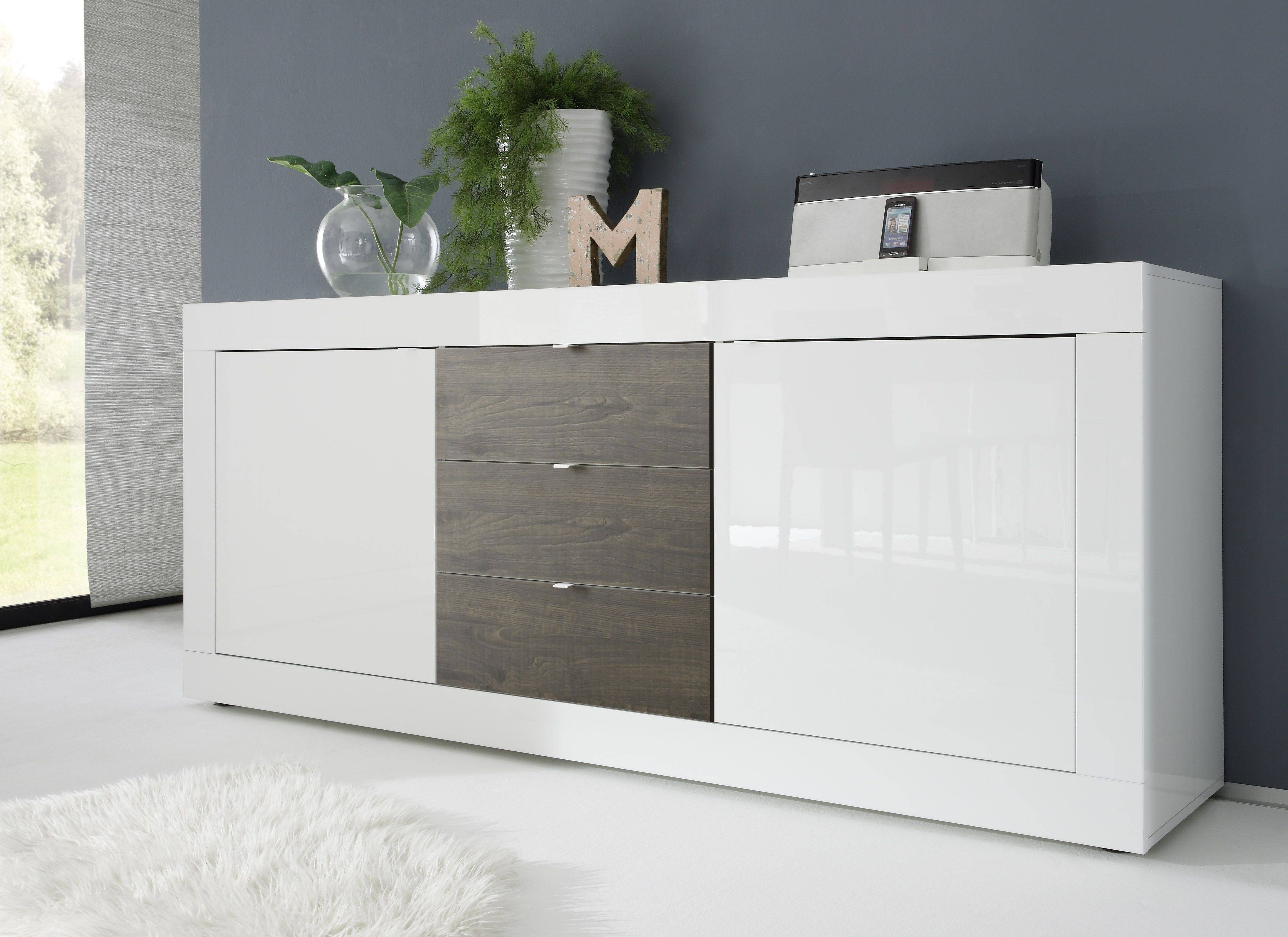 Dolcevita Three Door Sideboard In White Gloss – Sideboards – Sena Intended For White High Gloss Sideboard (View 3 of 20)