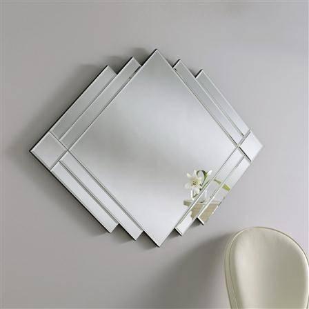 Double Diamond Silver Art Deco Mirror 119 X 86Cm Double Diamond Inside Art Deco Mirrors (#12 of 20)