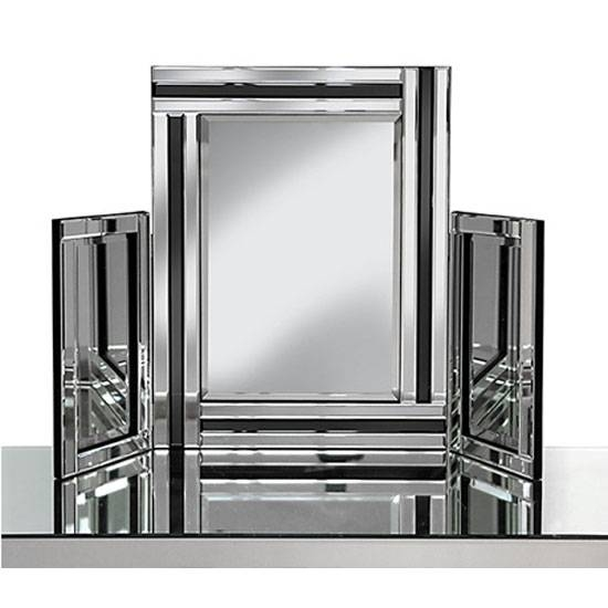 Dressing Table Mirror In Silver With Black Inserts In Silver Dressing Table Mirrors (#8 of 20)
