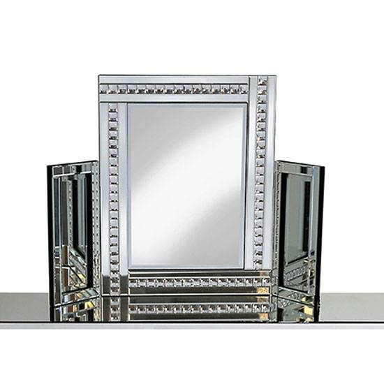 Dressing Table Mirror In Silver With Crystal Detail With Regard To Silver Dressing Table Mirrors (#9 of 20)